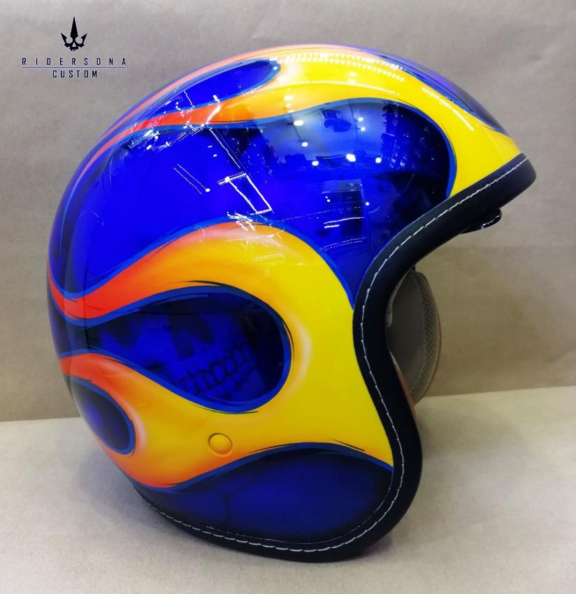 Chopper Cruiser Skull Yellow Flame Pinstripe Airbrush Jet E-CE Helmet