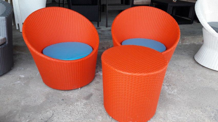 Designer style outdoor rattan furniture, sun lounger