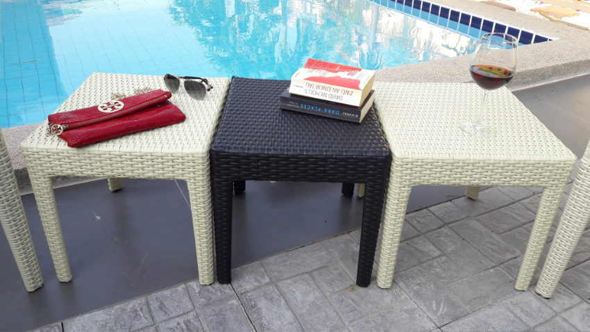 Cocktail table, 45 x 40 cm, poly rattan , new , bisquit cream color