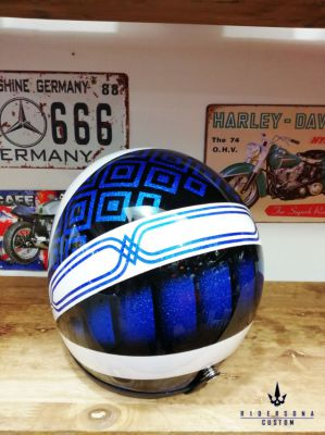 Hand painted 3/4 open face classic metal flake pinstripe custom helmet