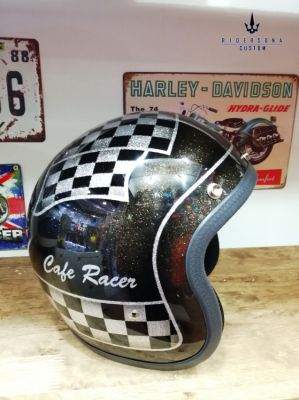Classic Cafe Racer metal flake hand painted airbrush 3/4 Jet helmet