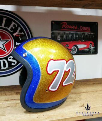 Vintage classic racer open face 3/4 metal flake airbrush E-CE helmet