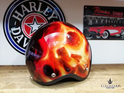 Skull flames open face gloss finished free hand painted chopper helmet