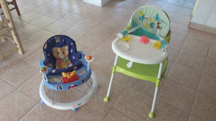 High chair and pushchair