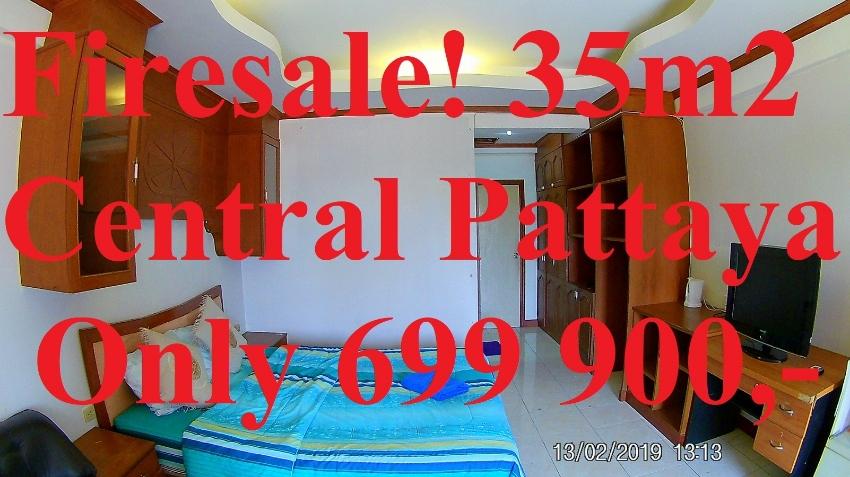 Cheap Big Central Pattaya Condo Room Sale 35m2