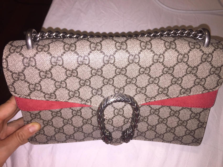 Authentic real GUCCI shoulder bag – Dionysus small GG Style ‎400249 KH