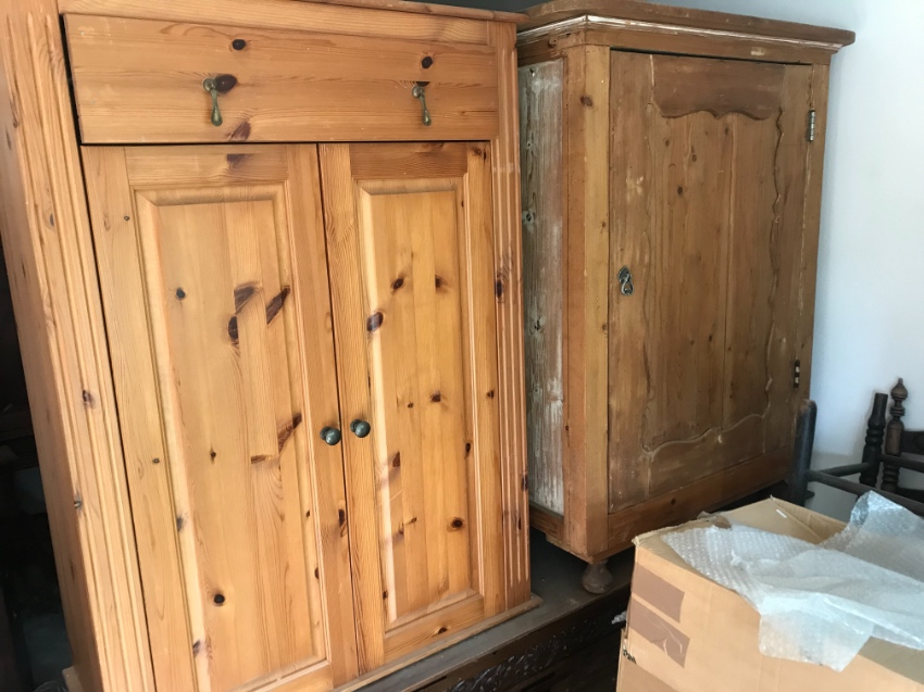Two pinewood cupboards