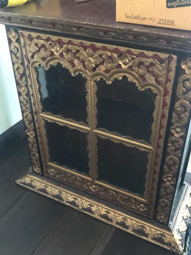 Antique indonesian glazed cabinet