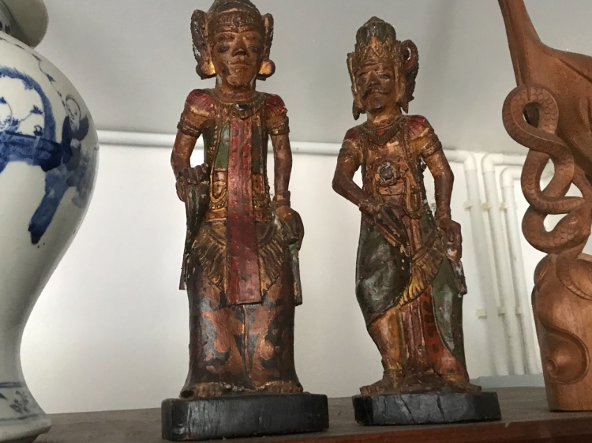 Antique indonesian wood carvings