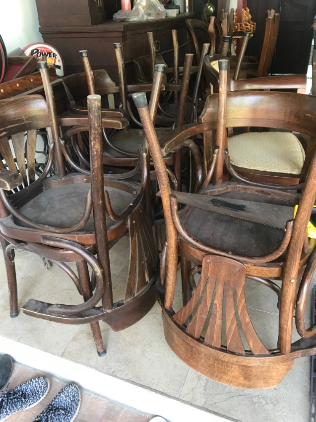 Antique Thonet cafe chairs imported from France