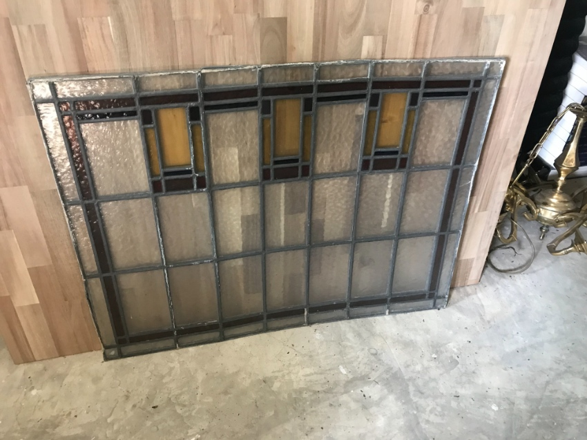Two antique stained glass windows
