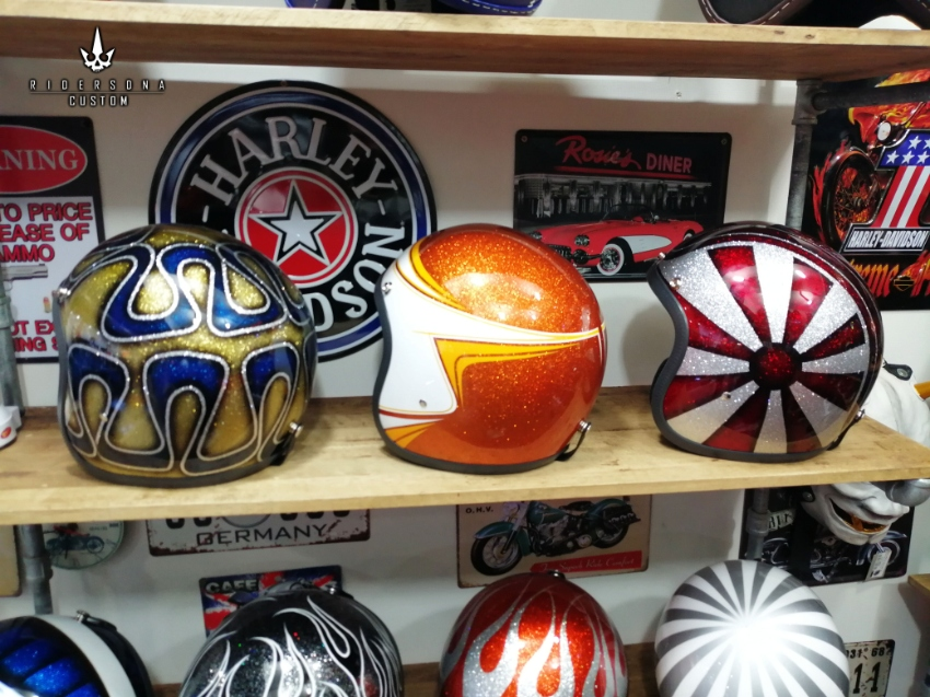 Jet Open Face hand painted Airbrush custom metal flake ECE DOT helmets