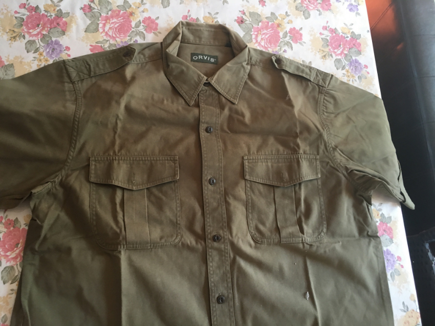 Orvis khaki Bush Shirt in USA XL size.