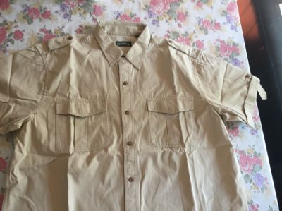 Orvis Tan Khaki Bush shirt USA size L