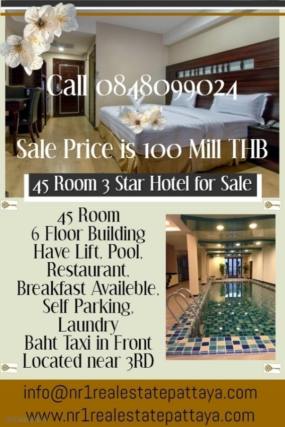 45 room 3 star hotel vor sale  close to tukcom pattaya