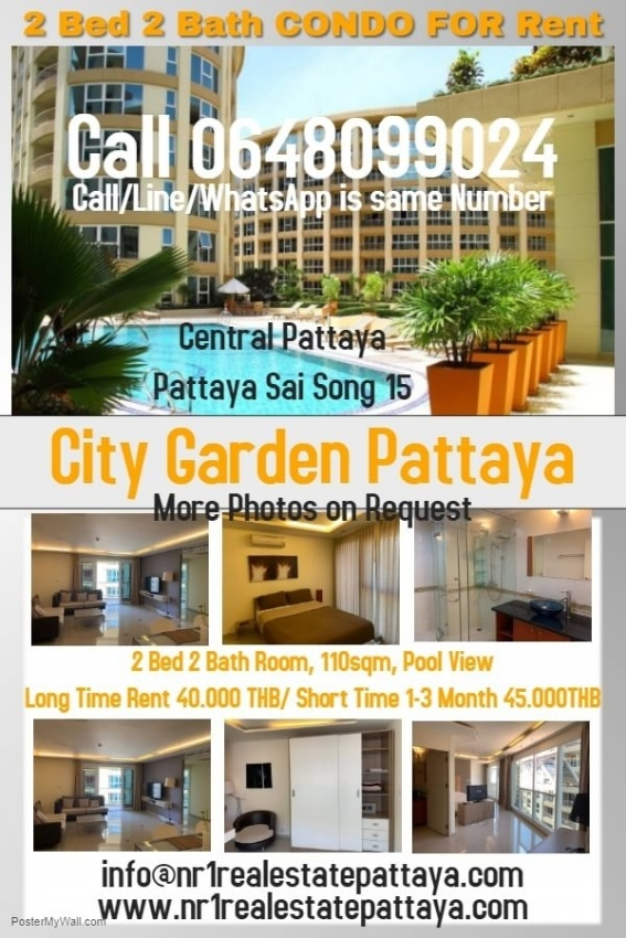City garden pattaya  2 bed 2 bath   for rent