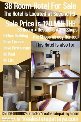 38 room hotel  second road pattaya for sale