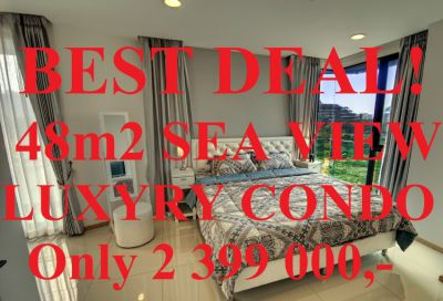 FIRESALE Big Corner Unit Sea view 48m2 Acqua Jomptien Beach 200m