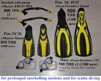 Scuba Snorkeling. MASC, SNORKEL tube + purge, FINS 34 35 36, 45 46 47