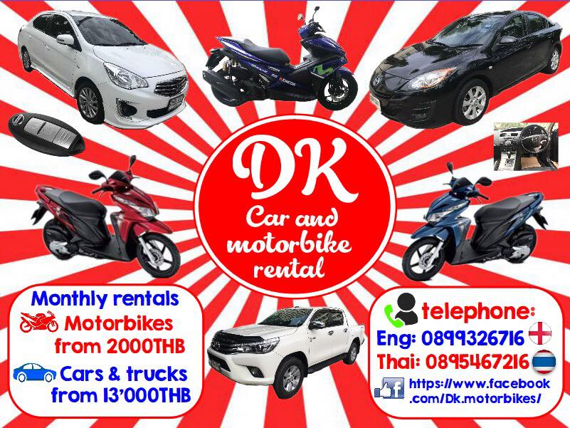 For Rent Cars, Trucks and Motorbikes