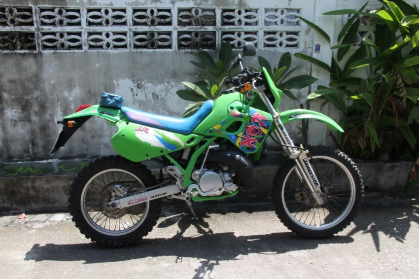 Kawasaki KDX250 with green book
