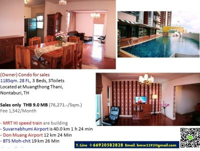 (Owner)Condo for Sales 3Bd 118Sqm.28FL, MuangThongThani, Nontaburi, TH