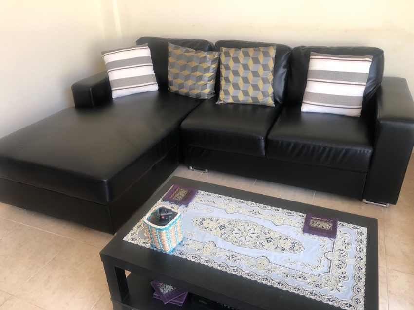Sofa, Black, Leather look . nearly new !