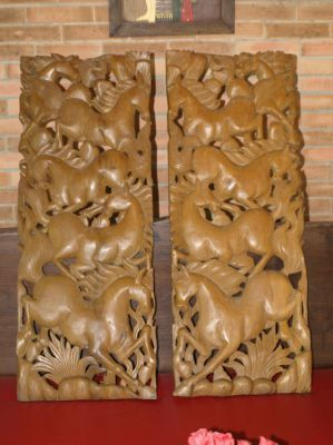TWO Big Heavy Traditional Thai Teak Wood Craft Carvings. Horse/s. Nice