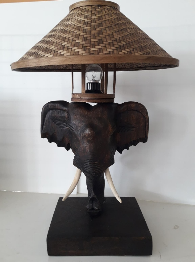 Unique Wood Table Lamp Hand Carving Of Elephant Weaved Lamp Shade....