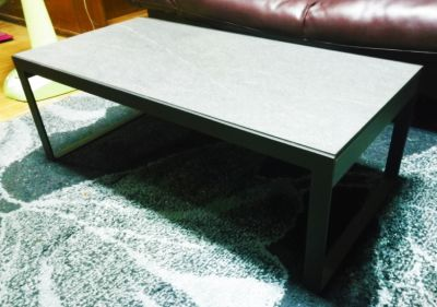 Low table - metal (marble effect surface) - 100 x 50 x 35 cm