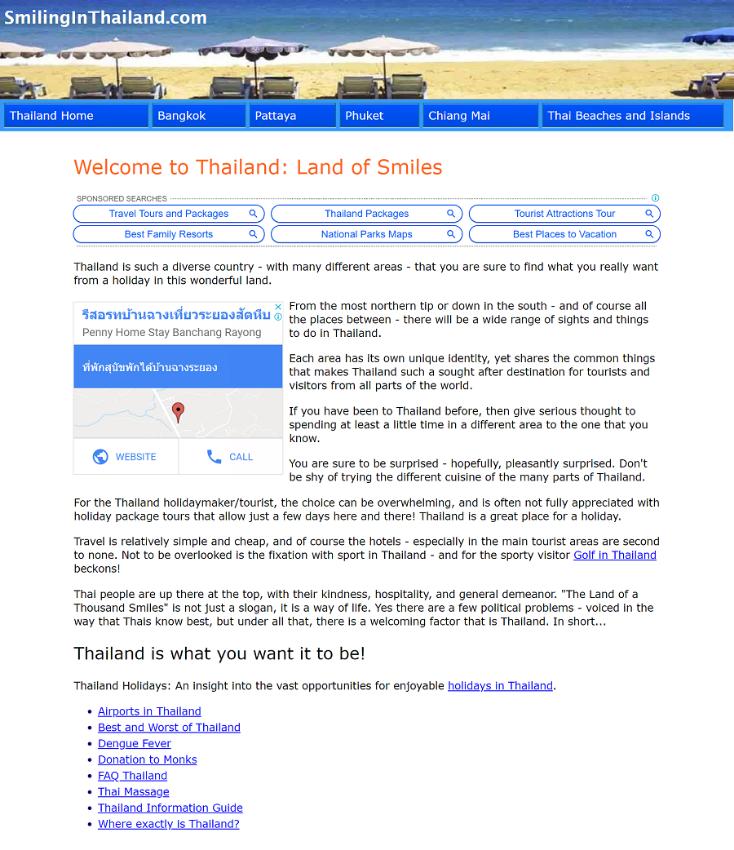 Tourist Information Website For Sale (Thailand)