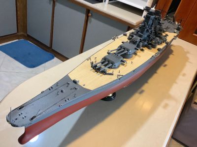 130 cm model of Japanese battleship Yamato with custom display case.