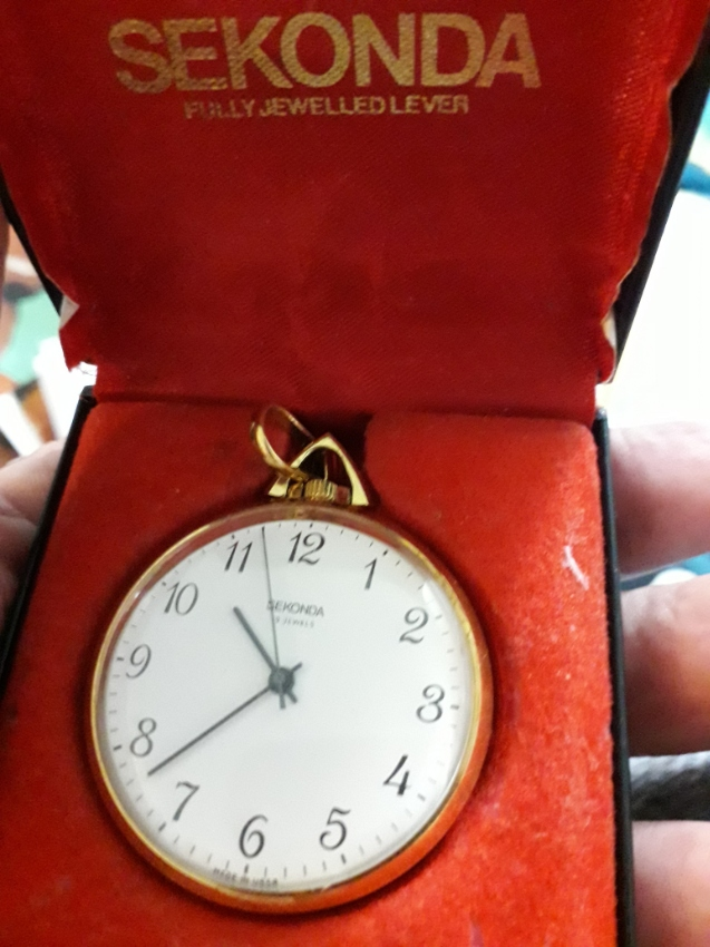 Sekonda small ladies lapel watch? pocket watch with chain and box