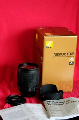Nikon Nikkor 18-105mm G VR lens in box