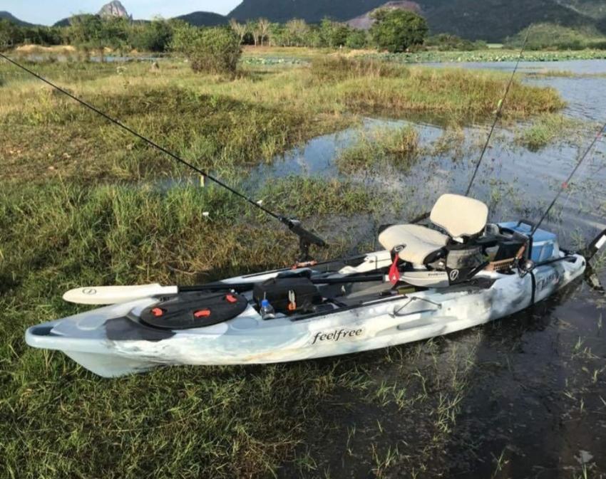 Feelfree Lure 11.5 fishing kayak with YakAttack accessories