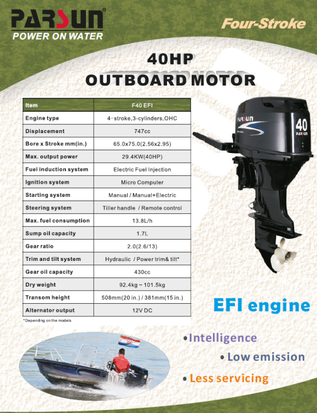 PARSUN OUTBOARDS ENGINE from PRICE 40 HP EFI 155.000 BATH ...