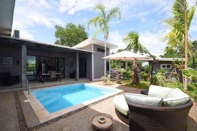 New 3-bedroom pool villa, 8-mins walk to beach, in Klong Muang, Krabi