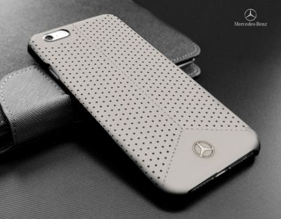 Mercedes-Benz Perforated Grey Leather Hard Case for iPhone 6/6s