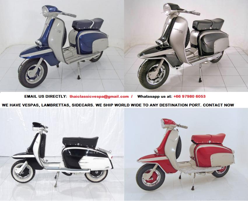 Original from Italy  restored Classic scooters Vespa and Lambretta Li