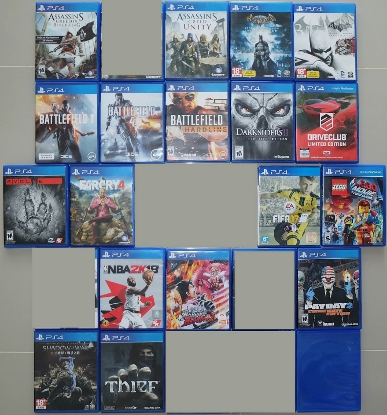PS4 games for sale.