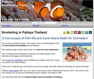 Website Promoting Snorkeling Tours in Pattaya