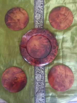 MOROCCAN TURJ WOOD COASTER SET