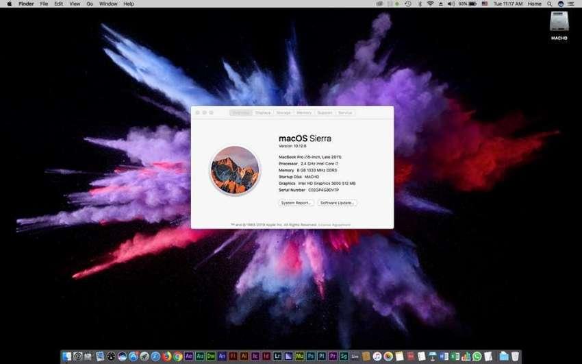 MACBOOK PRO 15 INCH 2.4GHZ i7 8GB RAMS 1TB HDD