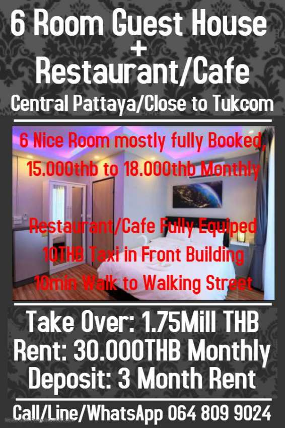 6 Room+Restaurant/Cafe Central Pattaya