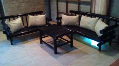 2 New Bamboo Sofas And Table