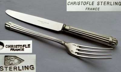 Genuine Christofle Paris Sterling Silver Cutlery Aria Goldring