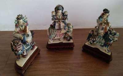 3 old chines gods ivory