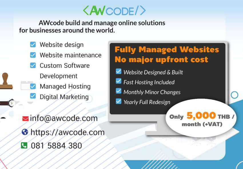 Fully Managed websites, just 5,000 THB per month