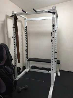 SQUAT CAGE, 120lg WEIGHTS, BENCH,BARBELL