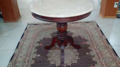 3 Legged Teak Table with Round Marble Top